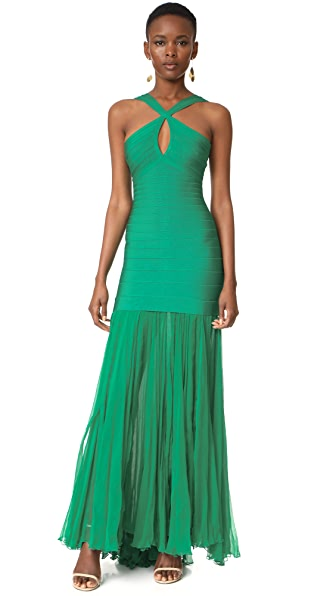 Herve Leger Sarina Gown In Peacock Green