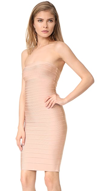 Herve Leger Strapless Fitted Dress