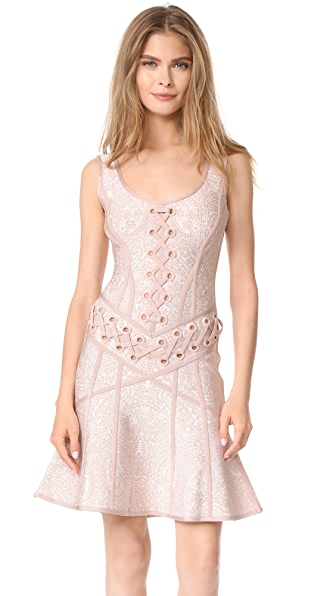Herve Leger Fitted Sleeveless Dress - Alabaster