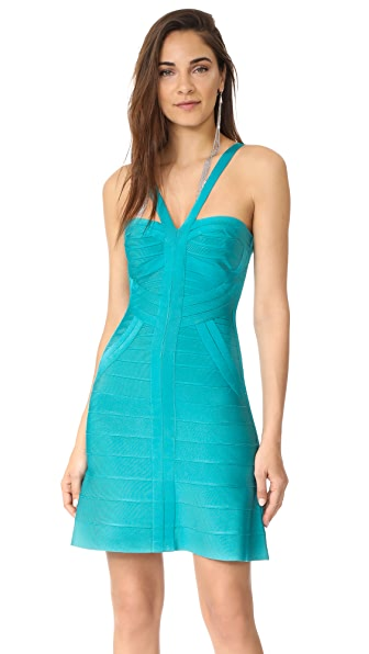 Herve Leger Fitted Sleeveless Dress - Turquoise