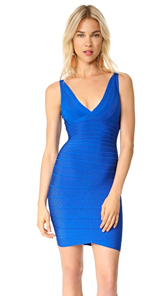 Herve Leger V Neck Dress