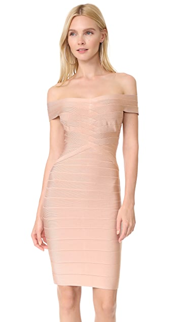 Herve Leger Off Shoulder Dress