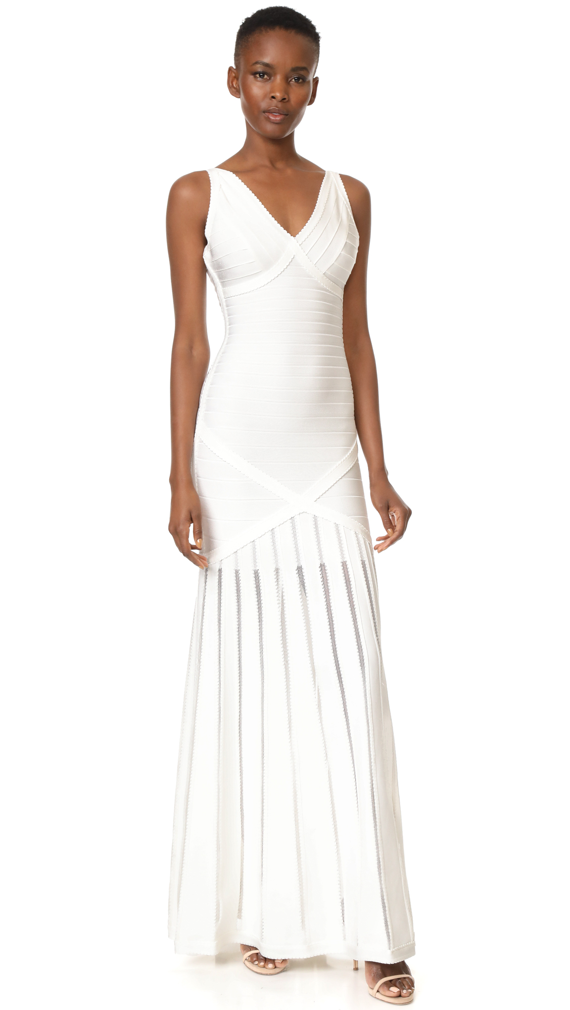 Herve Leger V Neck Gown with Pointelle Skirt - Alabaster