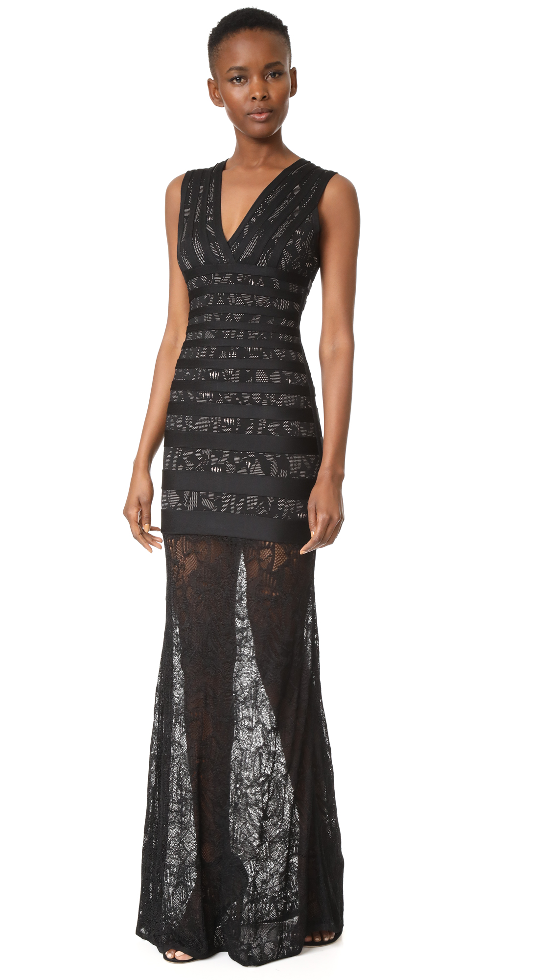 Herve Leger Striped Lace Inset Gown - Black Combo