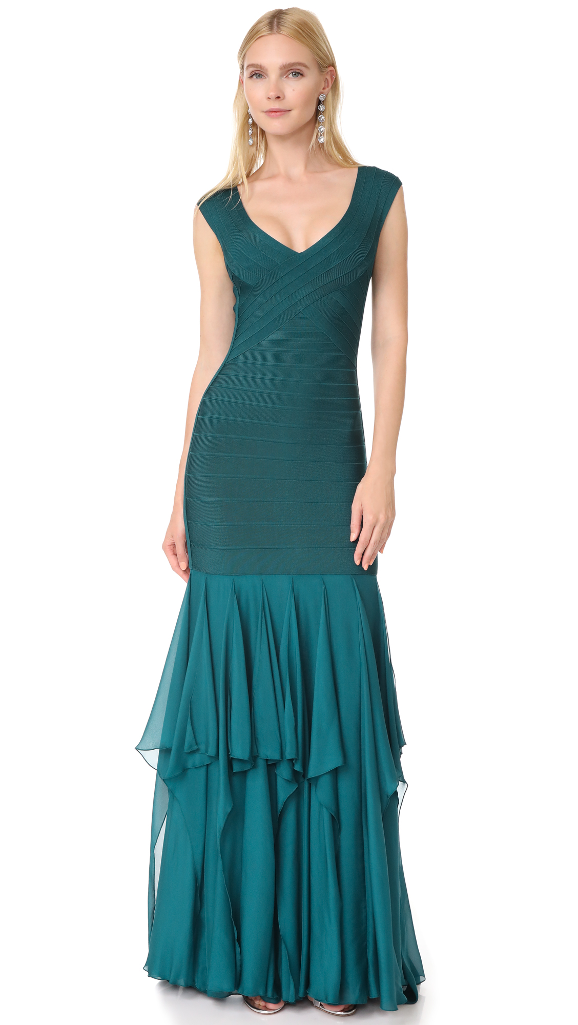 Herve Leger Chiffon Skirt Gown - Slate Teal