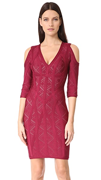 Herve Leger Josephine Dress - Dark Maroon Combo