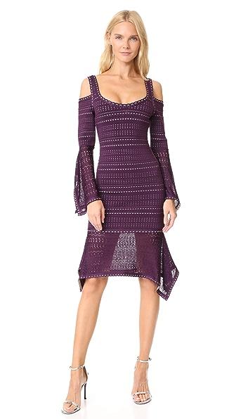 Herve Leger Cold Shoulder Ruffle Trim Dress