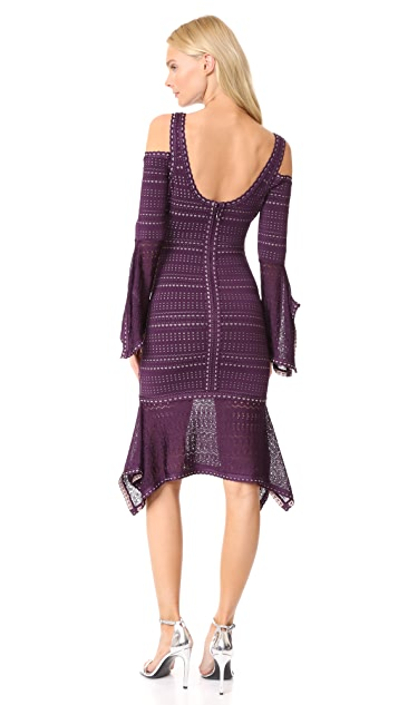 Herve Leger Cold Shoulder Ruffle Trim Dress