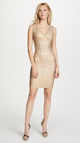 Herve Leger Платье до колен с V-образным вырезом
