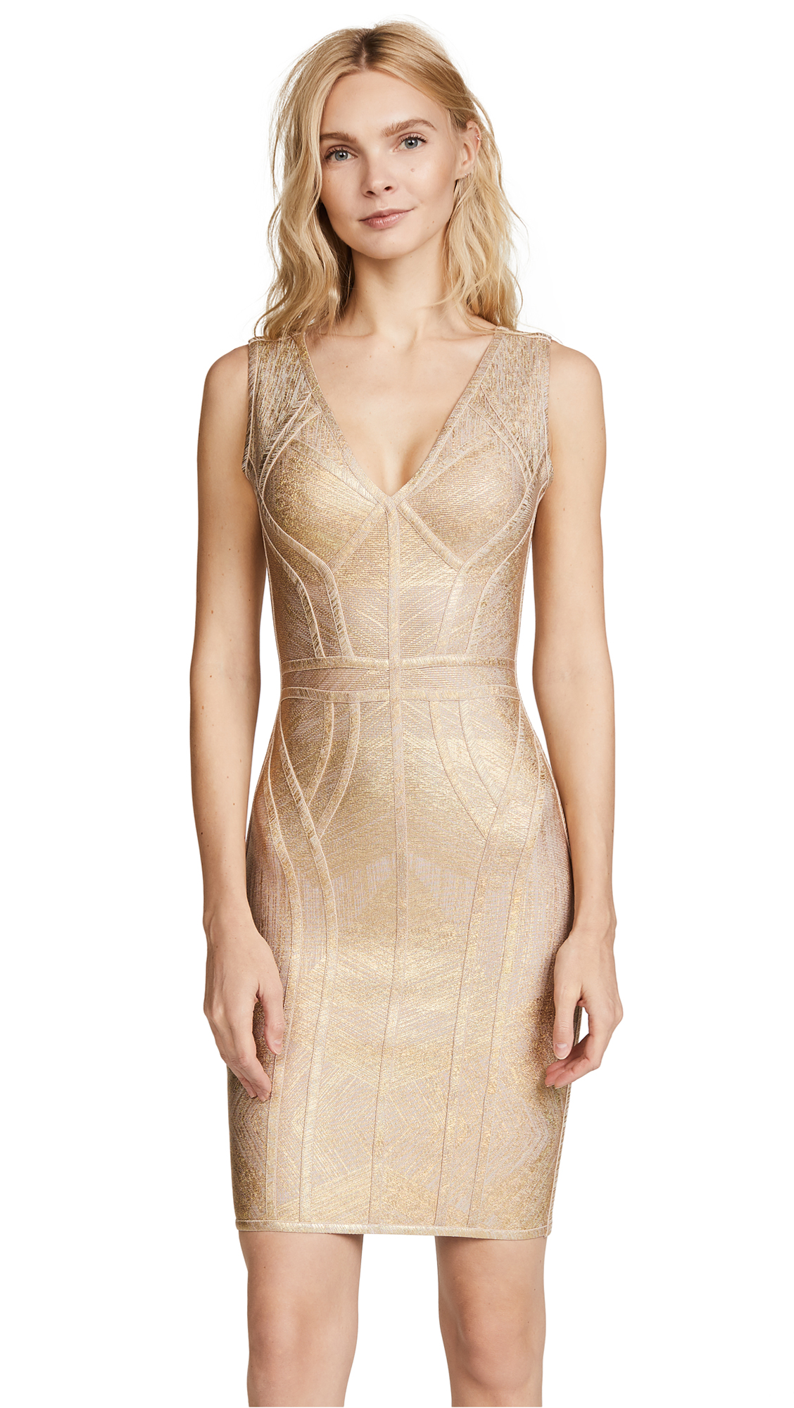 Herve Leger V Neck Above Knee Dress - Gold