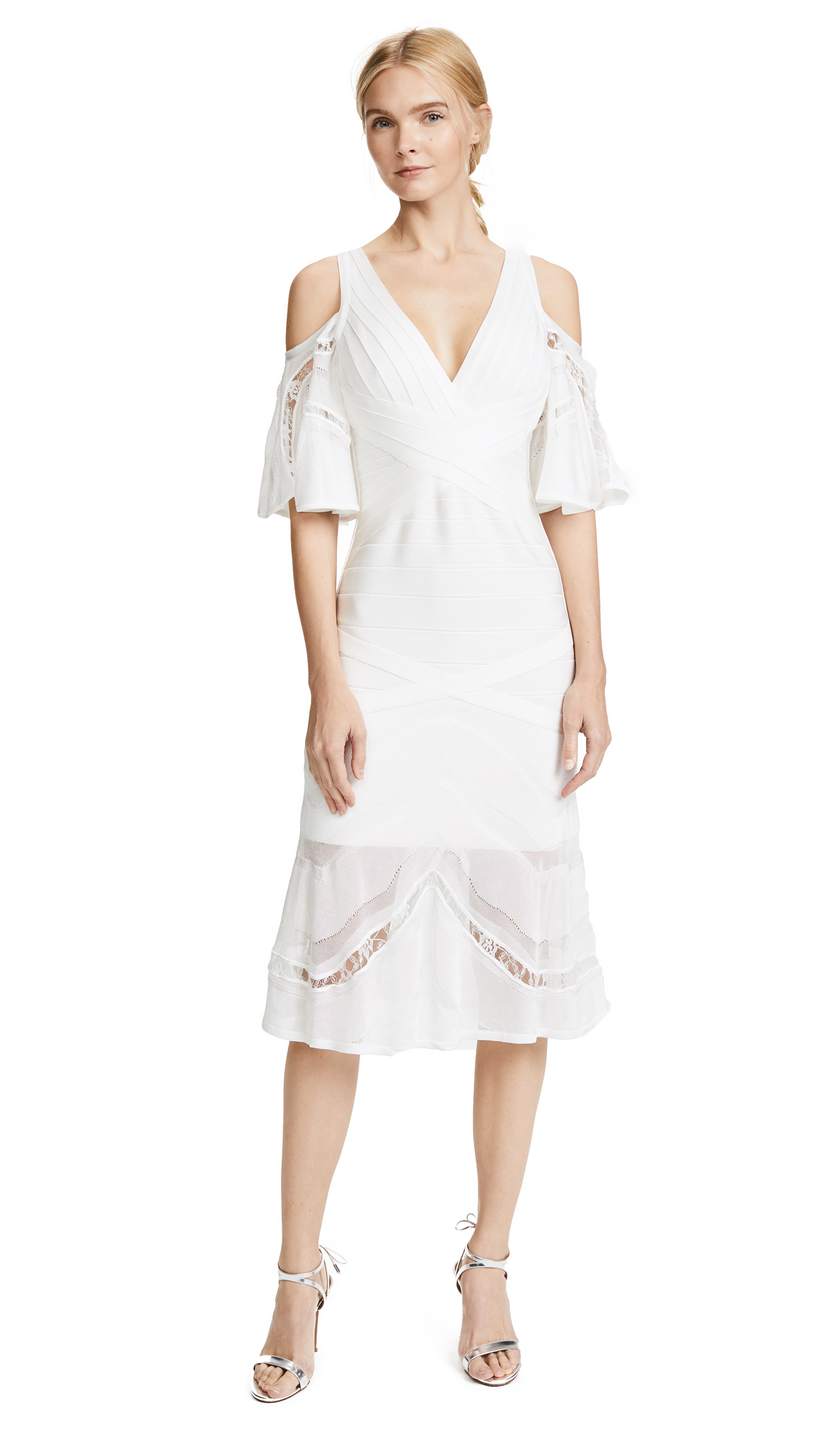 Herve Leger V Neck Cold Shoulder Dress - Alabaster