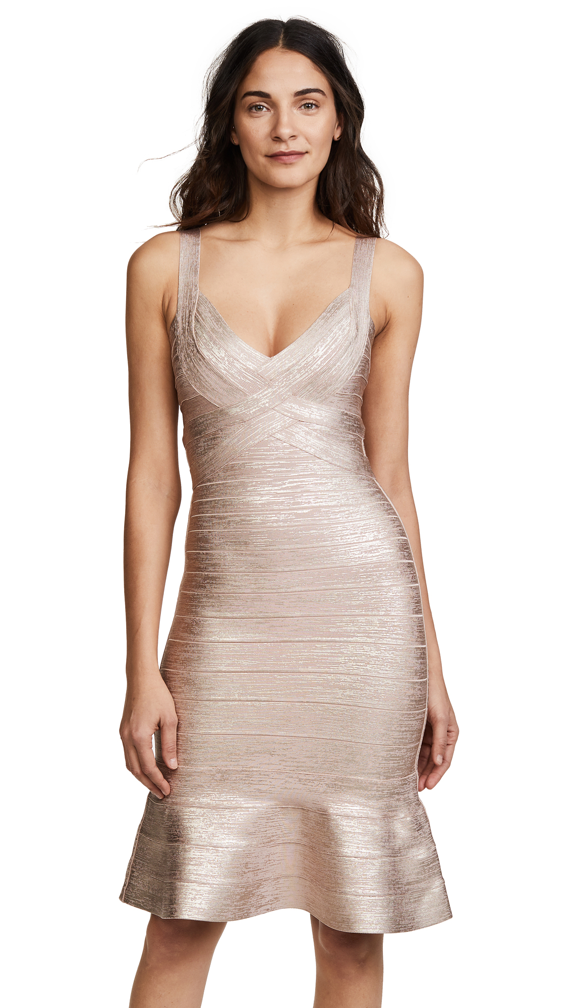 Herve Leger Scoop Neck Midi Dress - Rose Gold Combo