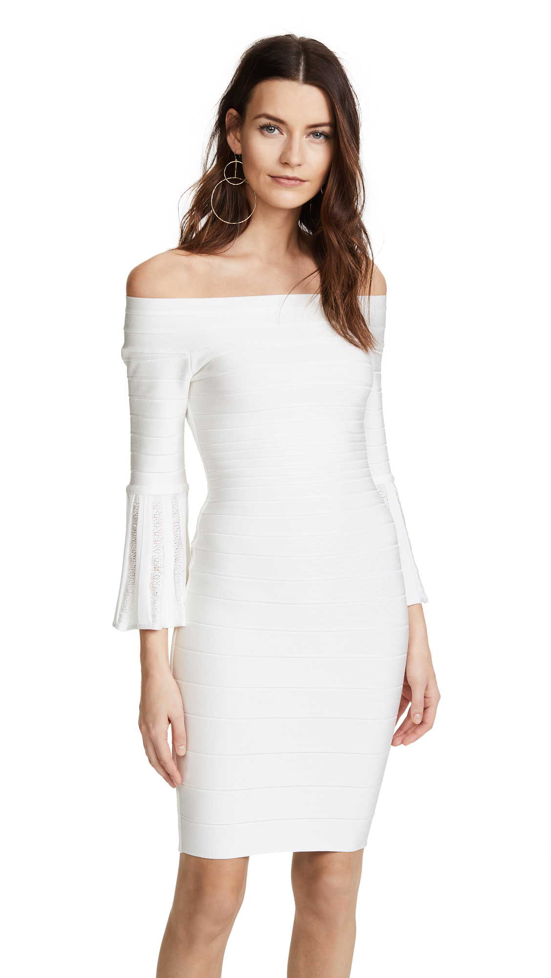 Herve Leger Bell Sleeve Off the Shoulder Dress - Alabaster