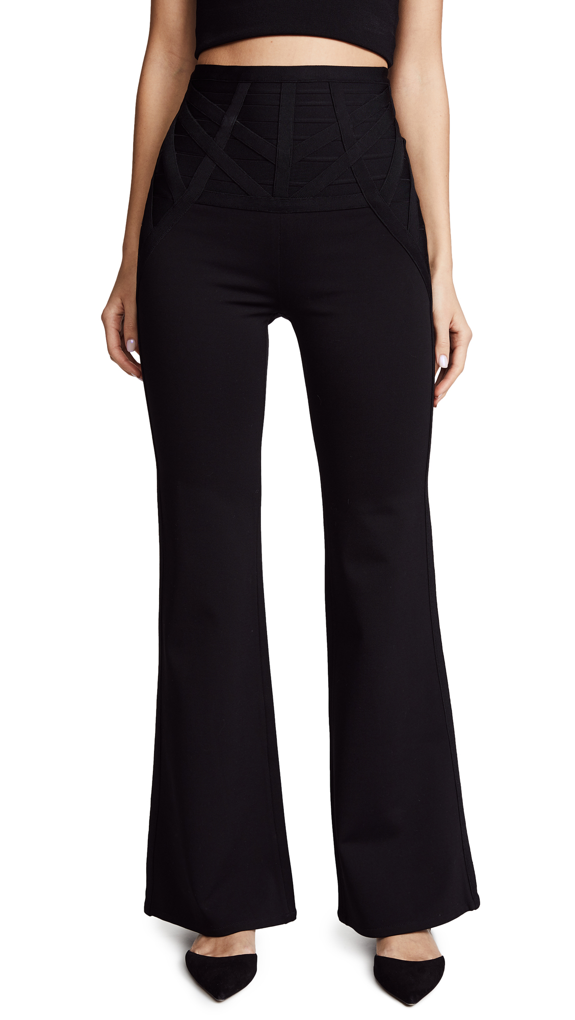 Herve Leger Flared Pants - Black