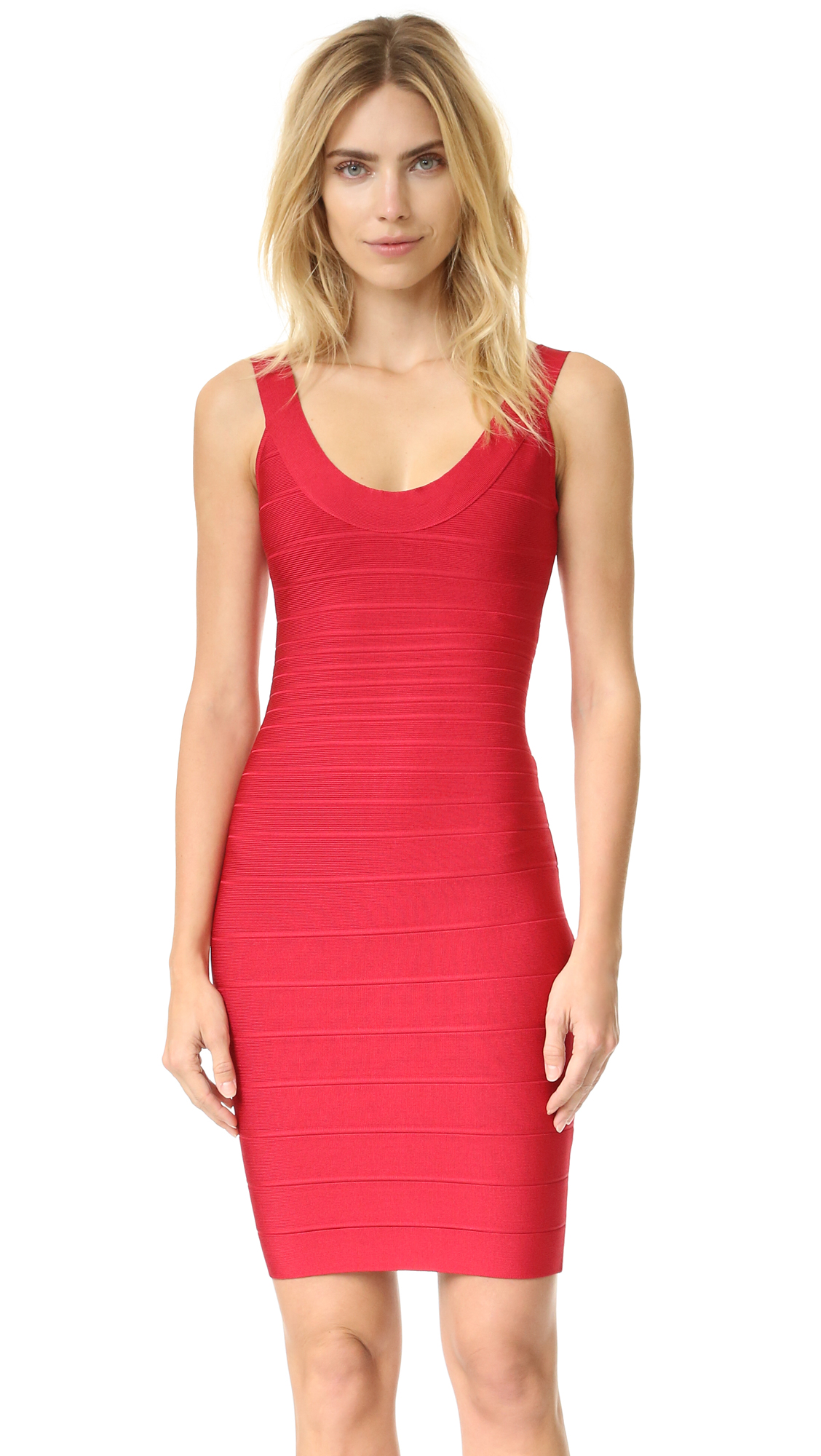 Herve Leger Signature Essentials Scoop Neck Dress - Lipstick