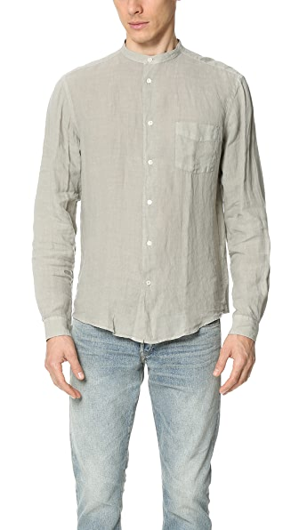 Hartford Band Collar Linen Shirt