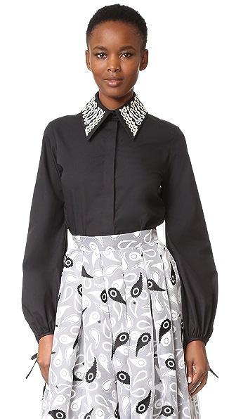 Holly Fulton Рубашка с вышивкой и воротником