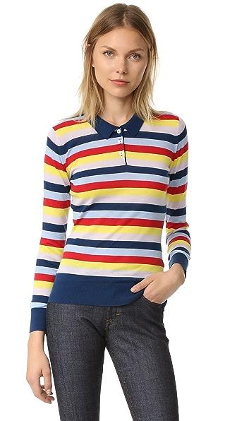 Holly Fulton Wide Stripe Polo Shirt - Multi Stripe