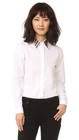 Holly Fulton Long Sleeve Shirt with Embroidered Collar - Multi/White