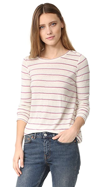 Intropia Striped Long Sleeve Tee - White Print