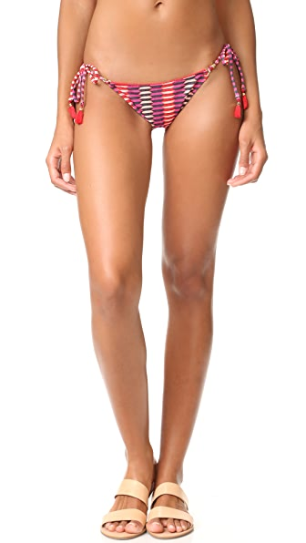 Heidi Klum Catalina Kisses Tie Side Bikini Bottoms - Retro Tribal Print