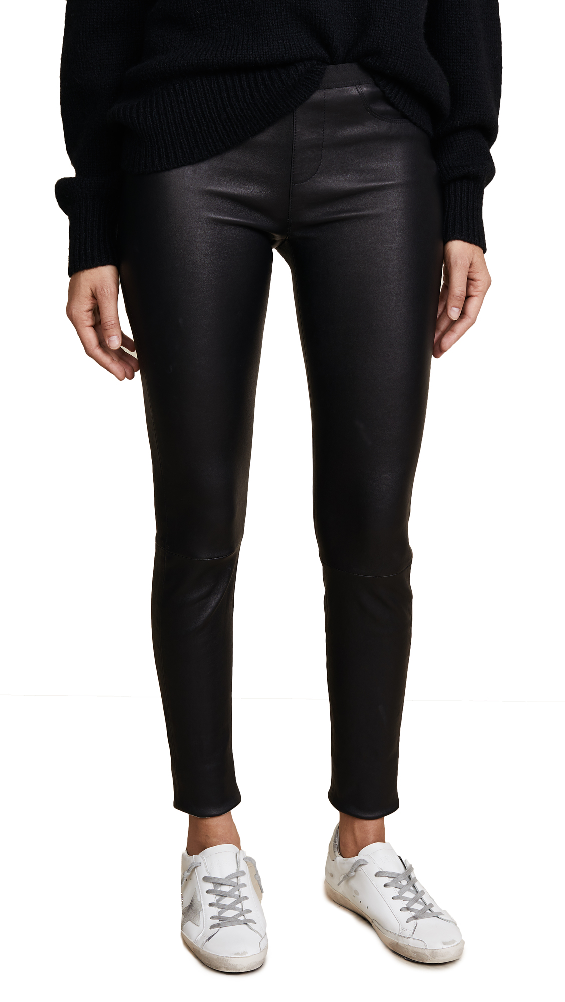 Helmut Lang Stretch Leather Pants In Black