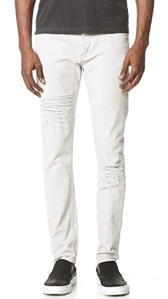 Helmut Lang Core Twill Distressed Skinny Jeans
