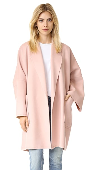 Helmut Lang Double Face Wool Coat In Dusty Pink
