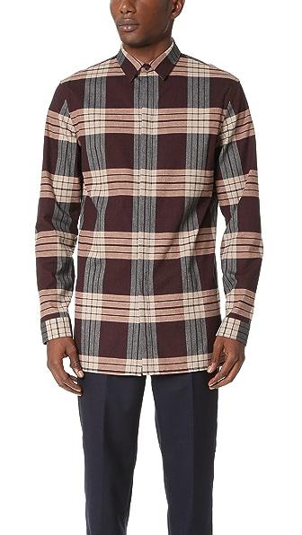 Helmut Lang Heritage Plaid Angled Hem Shirt
