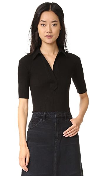 Helmut Lang Luxe Polo Tee - Black
