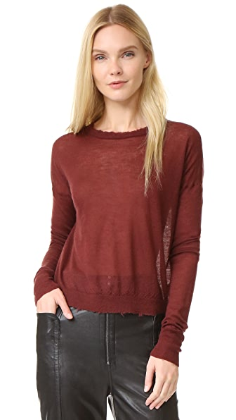 Helmut Lang Frayed Cashmere Sweater - Pomegranate