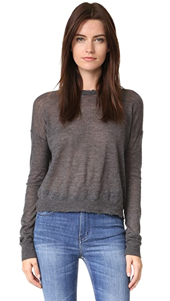 Helmut Lang Frayed Cashmere Sweater - Charcoal