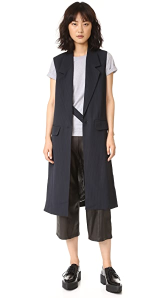 Helmut Lang Long Slit Vest - Navy/Grey