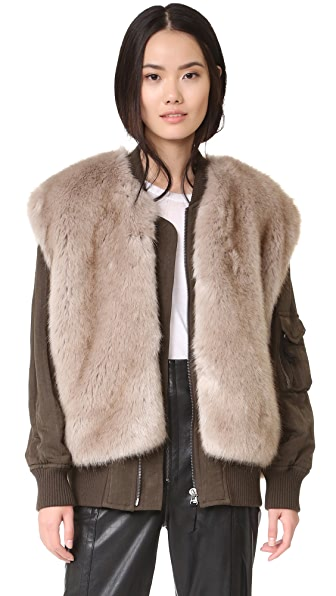 Helmut Lang Detachable Faux Fur Bomber Jacket