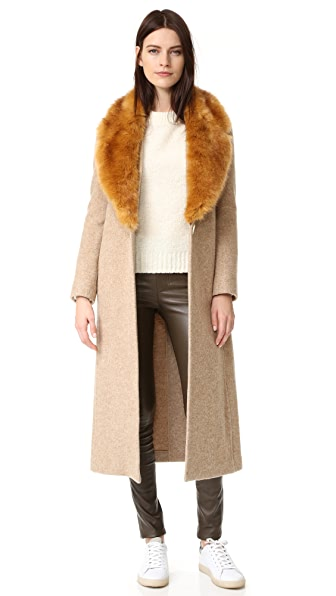 Helmut Lang Wool Coat with Faux Fur Collar - Beige Melange