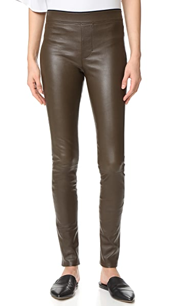 Helmut Lang Stretch Leather Leggings - Marsh