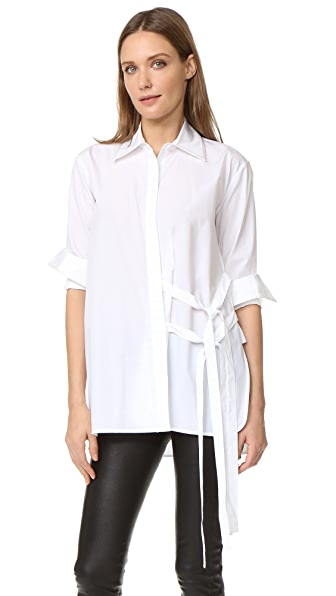 Helmut Lang Tie Overlap Blouse - Optic White