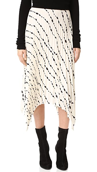 Helmut Lang Ribbon Print Pleated Skirt