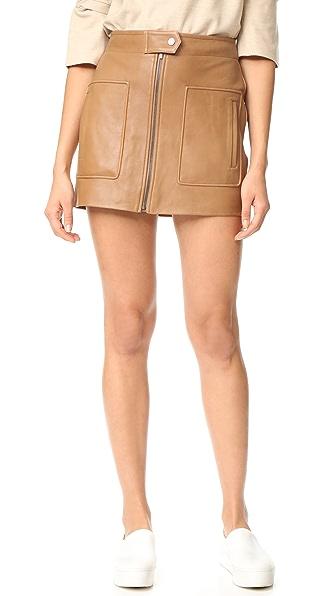 Helmut Lang Chintz Leather Miniskirt - Caramel
