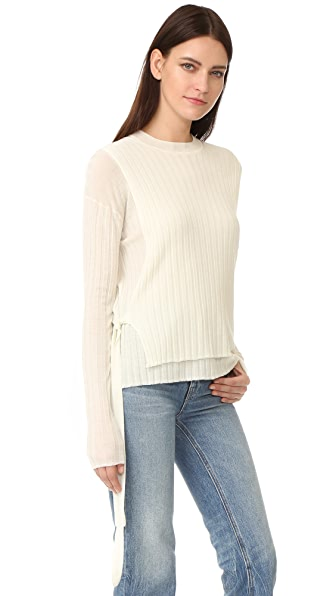 Helmut Lang Merino Wool Tie Side Ribbed Sweater - White