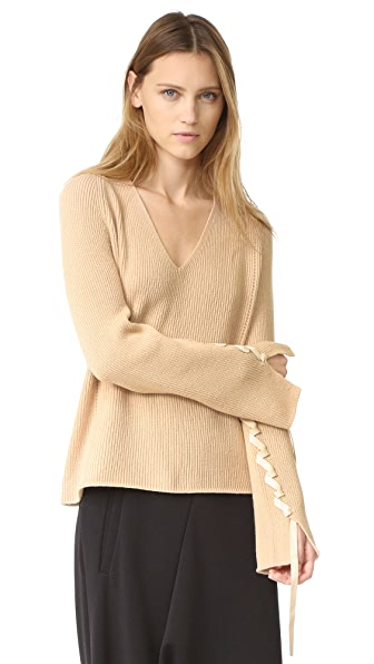 Helmut Lang Wool Cashmere V Neck Sweater - Sand