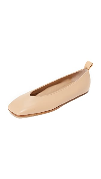 Helmut Lang Square Toe Ballet Flats - Straw