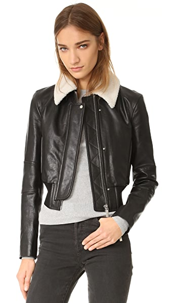 Helmut Lang Leather Jacket with Detachable Collar - Black