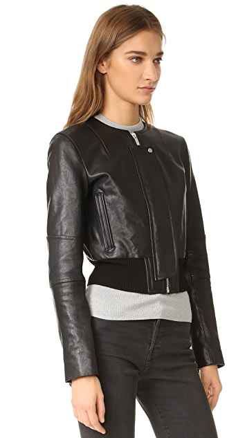 Helmut Lang Leather Jacket with Detachable Collar
