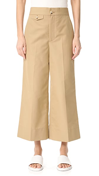Helmut Lang Wide Leg Cropped Pants - Ochre
