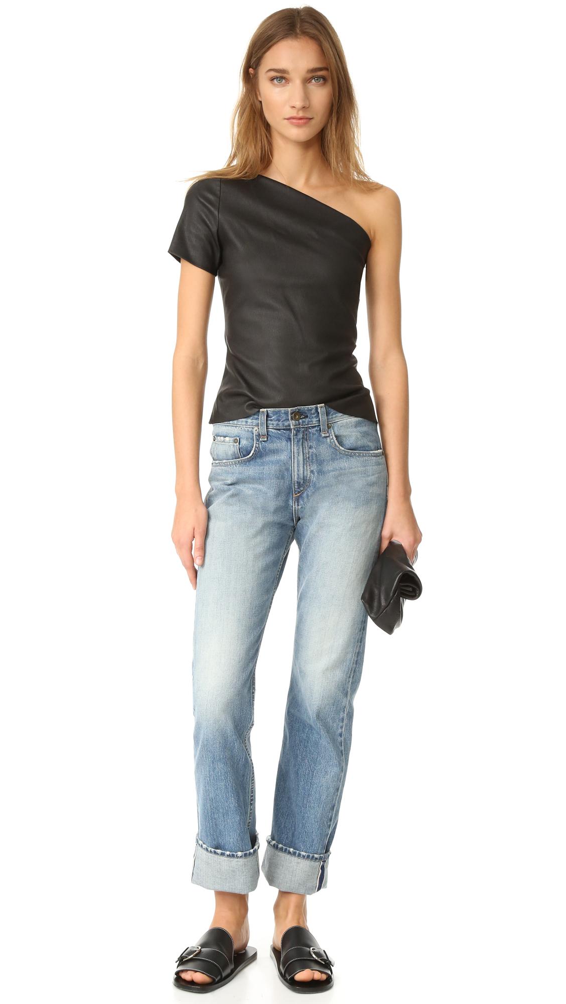 9d3f762eff7 Helmut Lang Asymmetrical One Shoulder Leather Top | SHOPBOP