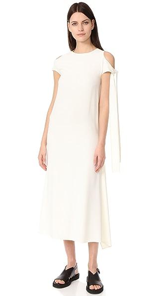 Helmut Lang Sleeve Tie Dress In Ivory