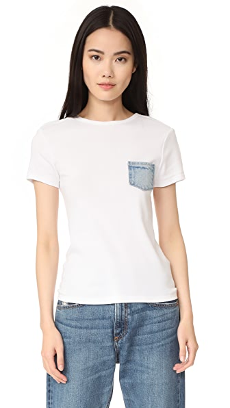 Helmut Lang Denim Pocket Tee In White