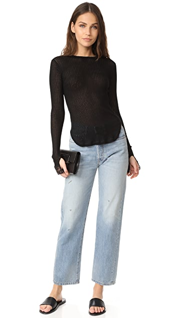 Helmut Lang Long Sleeve Ribbed Sheer Tee