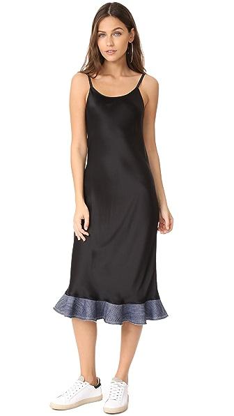 Helmut Lang Denim Detail Slip Dress - Black